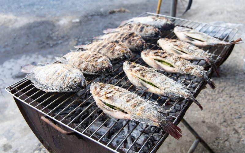 烤鱼用草本和盐在火 库存照片