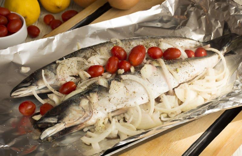 烤鲭鱼鱼和菜 免版税库存照片