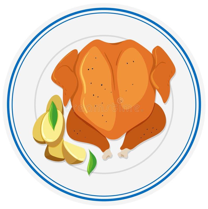 烤鸡和被烘烤的土豆 皇族释放例证
