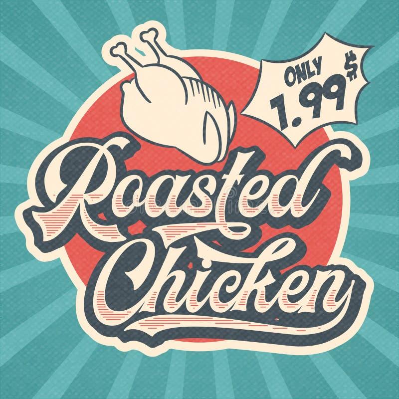 烤鸡的减速火箭的广告的餐馆标志 葡萄酒P 库存例证