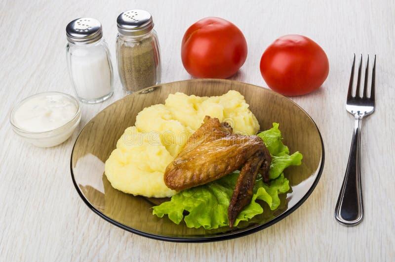 烤鸡翼,土豆泥,蛋黄酱,盐,胡椒, t 免版税库存图片