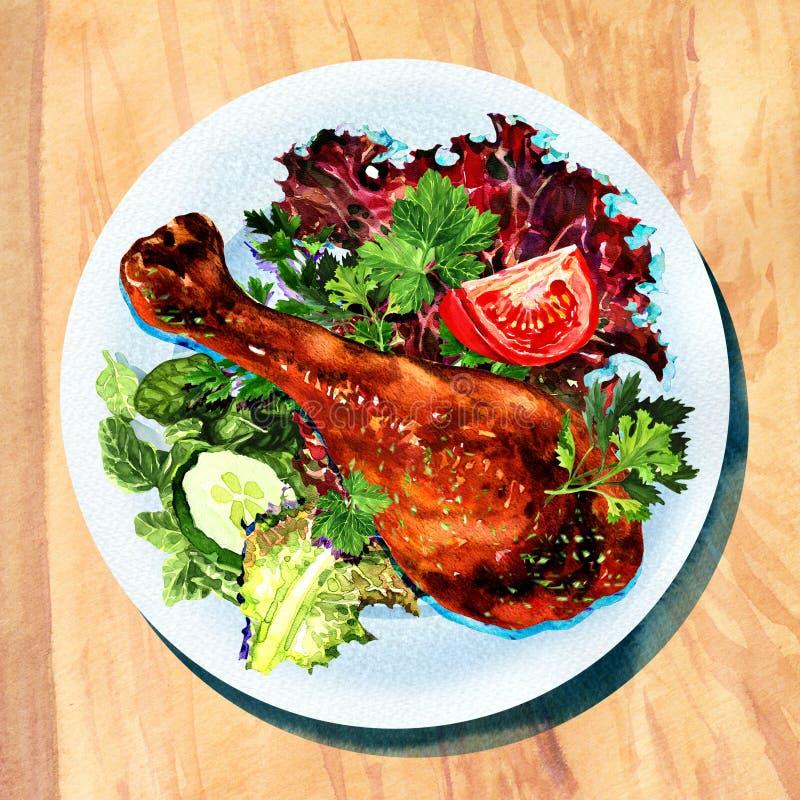 烤鸡腿和菜在白色板材 皇族释放例证