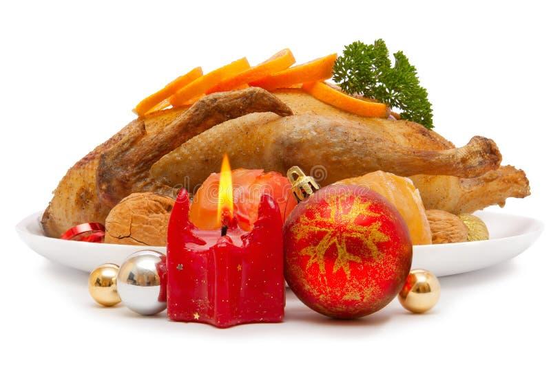 烤鸭。圣诞节正餐。 免版税库存照片