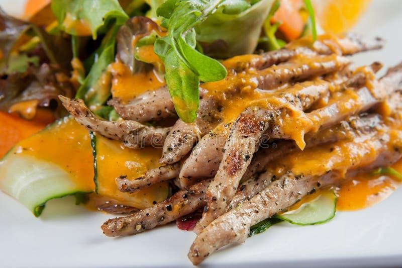 烤鸭大沙拉膳食计划小条用辣橙色调味汁 库存图片
