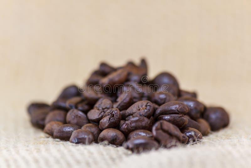 烤黑咖啡豆特写镜头在织品的与深领域 图库摄影