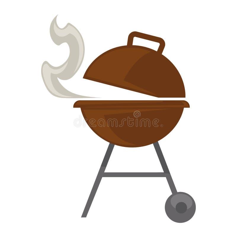 烤bbq党野餐传染媒介平的象的烤肉 皇族释放例证