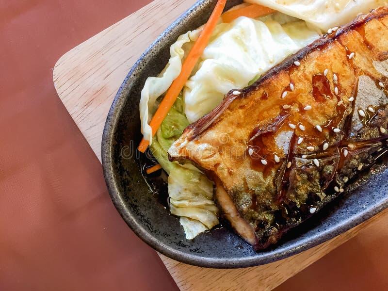 烤Saba用米,格栅鱼用调味汁, Saba鱼teriya 库存照片
