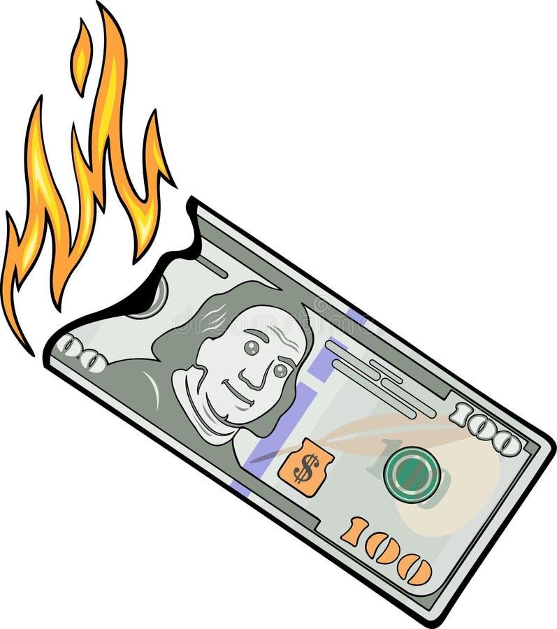 烧一百美元 向量例证