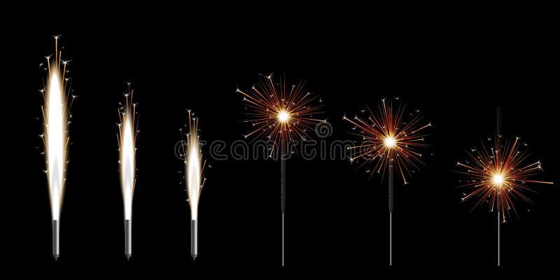 烧与金黄发光的星闪闪发光的设置六个孟加拉闪烁发光物 库存例证