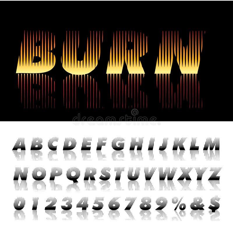 烧伤字体 向量例证