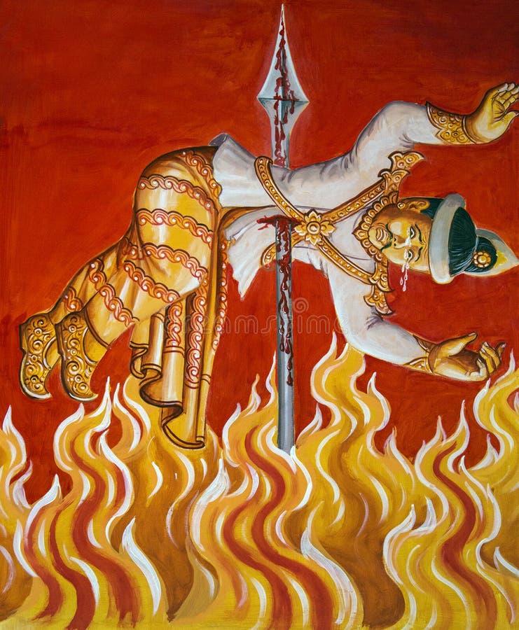 烧在地狱-缅甸寺庙绘画 库存照片