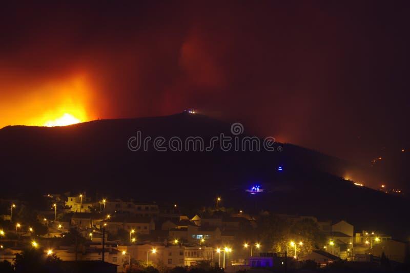 烧在城市附近的野火 免版税库存照片