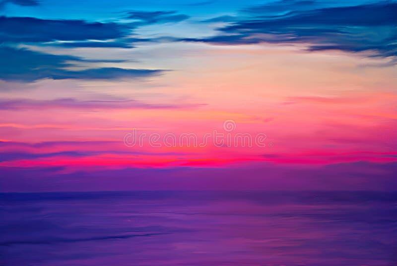 烧在海的数字式绘画五颜六色的天空日落在暮色时刻 库存图片