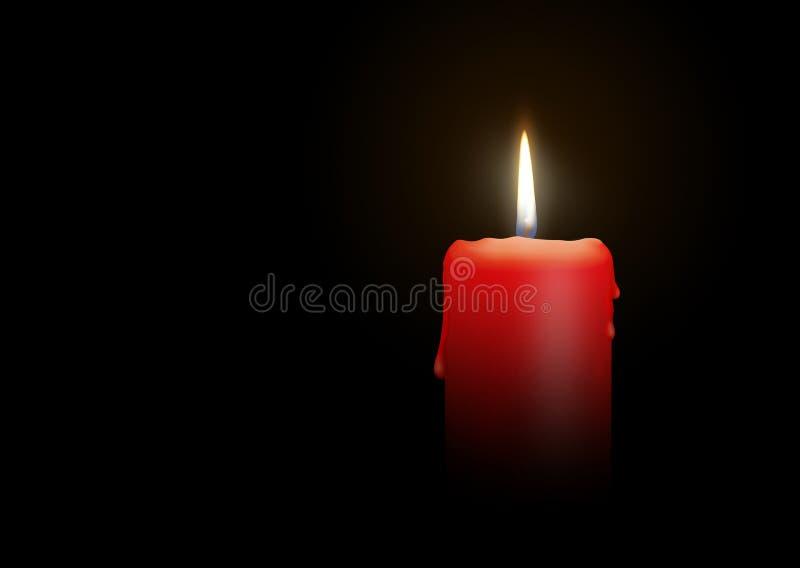 烧在黑背景-被隔绝的现实烛光的红色蜡烛 向量例证