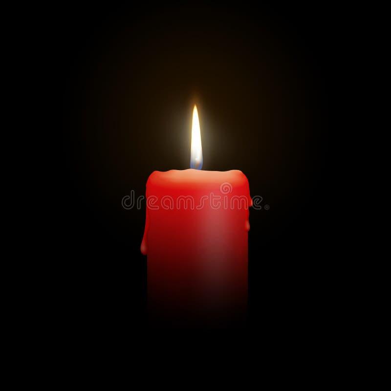 烧在黑背景-被隔绝的现实烛光的红色蜡烛 库存例证