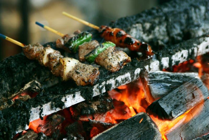 烧得发嘶声的kebabs 免版税库存照片