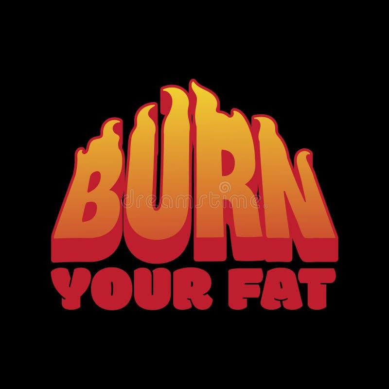烧您的油脂 与题字的传染媒介招贴与灼烧的字体 向量例证