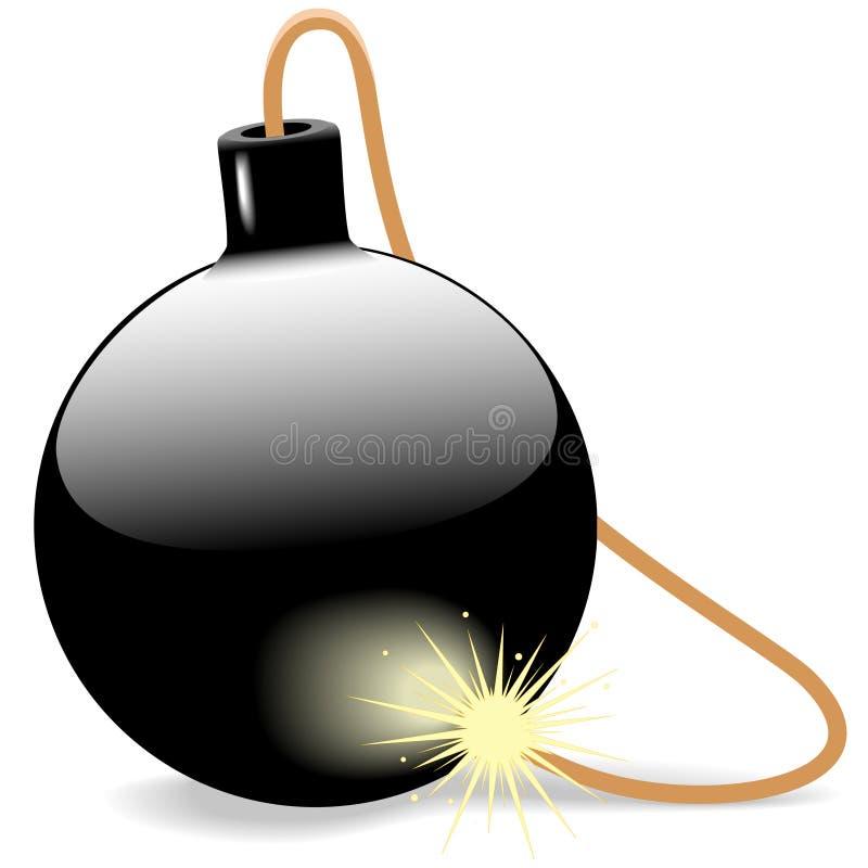 烧易爆的保险丝的球黑色炸弹 向量例证
