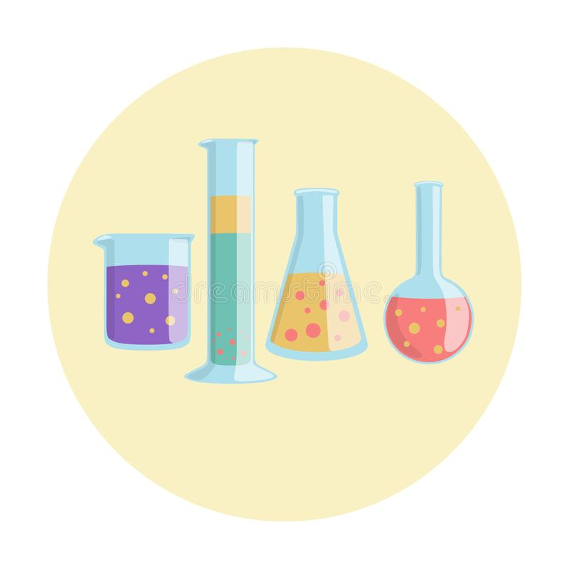 烧杯毕业了圆筒锥形烧瓶和佛罗伦萨烧瓶实验室设备 库存例证