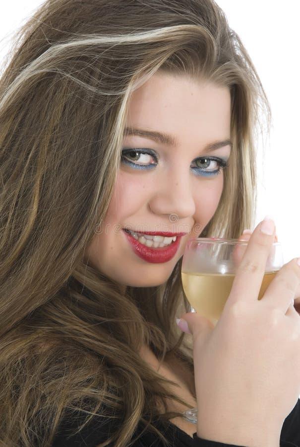 烧杯美丽的女孩 库存图片