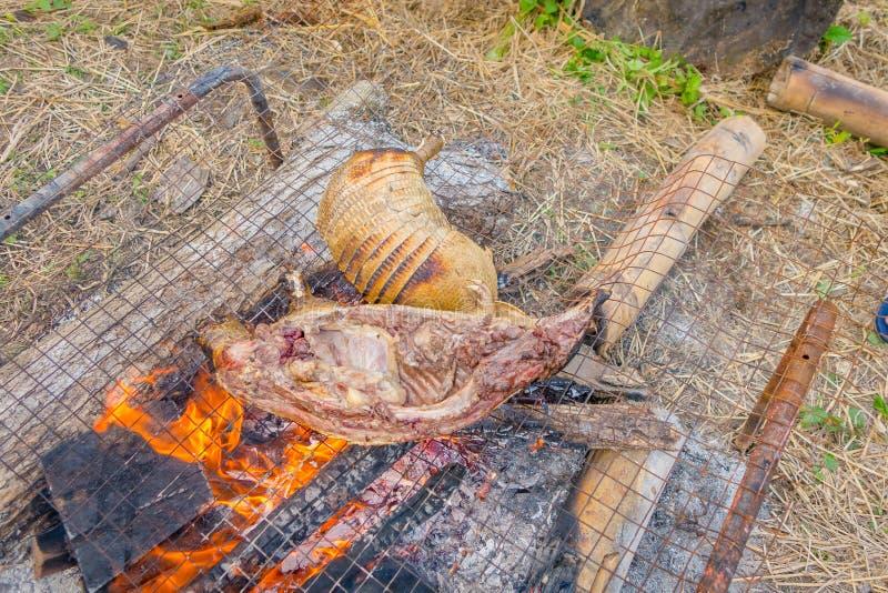 烧犰狳的皮肤的僧人的特写镜头,食物为午餐做准备使用火 免版税图库摄影