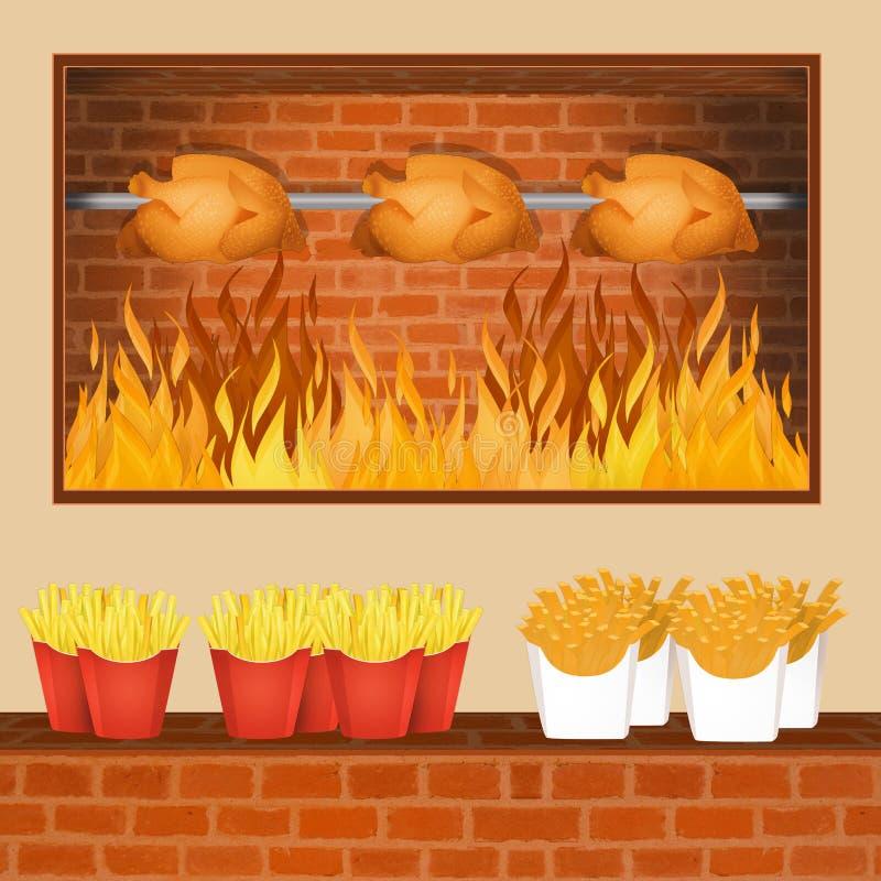 烧鸡和油炸物 向量例证