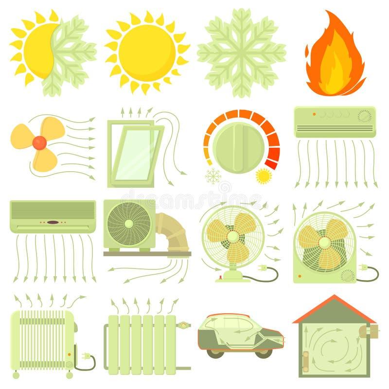 热凉快的气流工具象设置了,动画片样式 库存例证