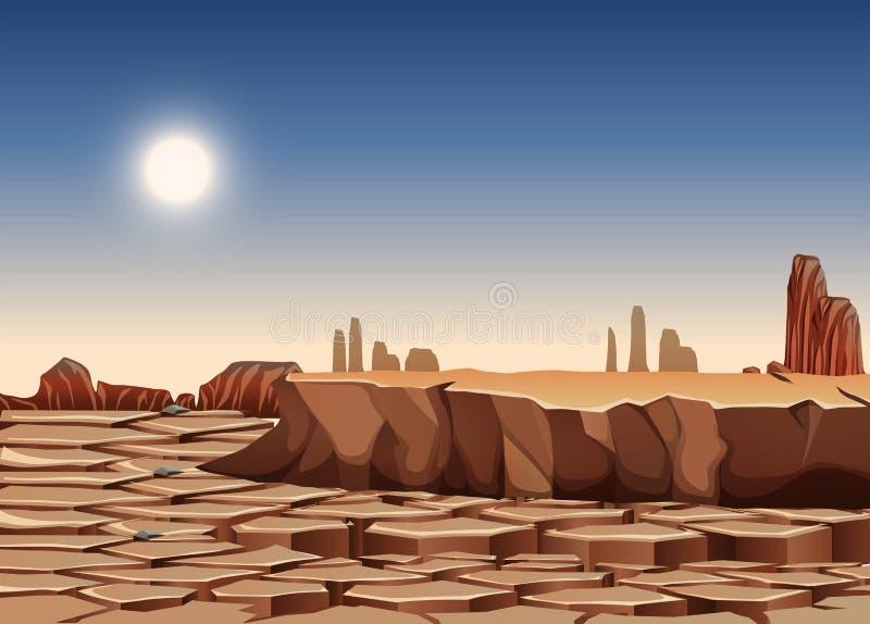 热和干燥风景 皇族释放例证
