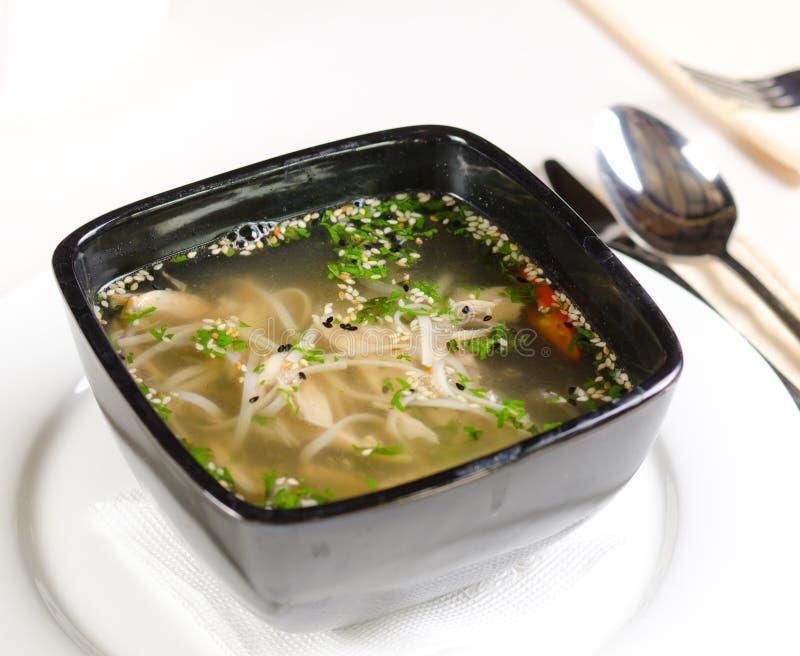 热和辣汤用肉和面团面条 免版税库存图片