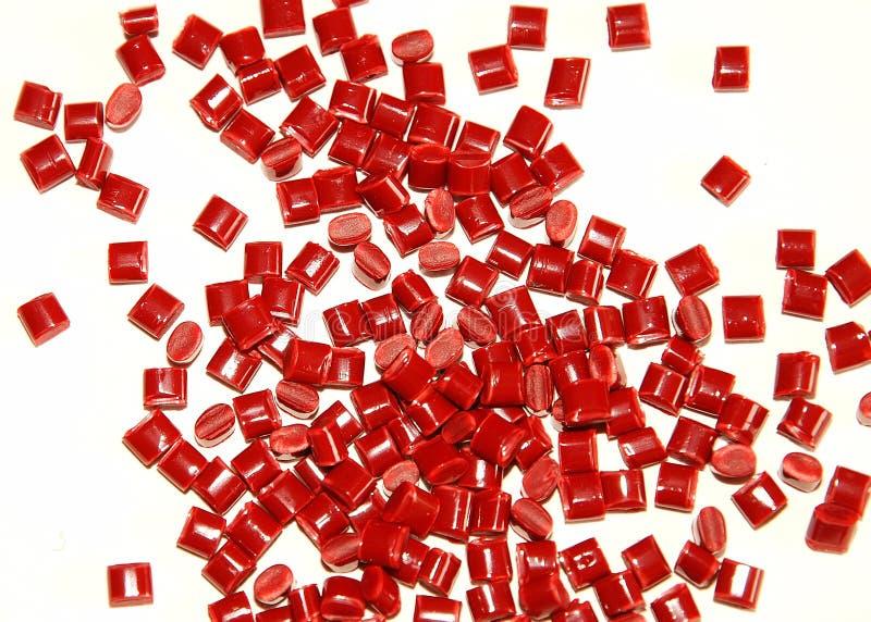 热塑性塑料红色的树脂 免版税库存照片
