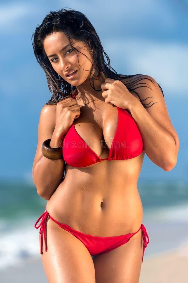 热女性走在海滩 库存图片