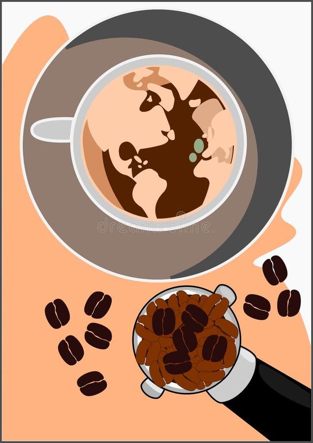 热奶咖啡咖啡传染媒介世界  免版税图库摄影