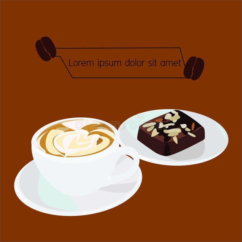 热奶咖啡咖啡和果仁巧克力传染媒介  免版税库存图片