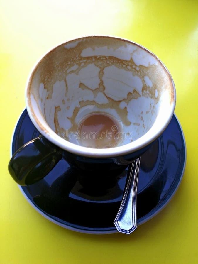 热奶咖啡-空的咖啡杯 库存照片