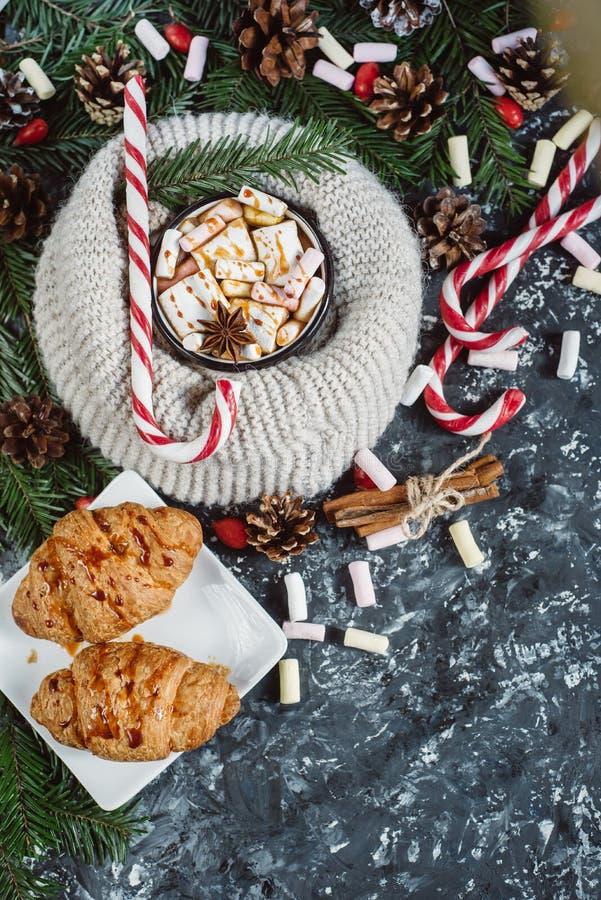 热巧克力或可可粉用蛋白软糖用糖果和云杉的分支在黑暗的背景 免版税库存照片