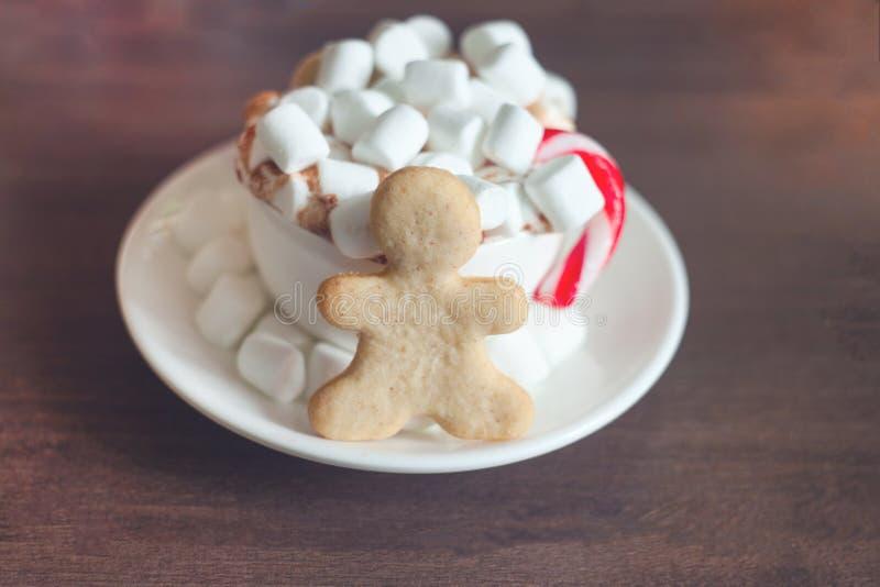 热巧克力用蛋白软糖和棒棒糖和姜饼曲奇饼conceppt、拷贝空间、新年好和xmas 2018款待 免版税库存图片