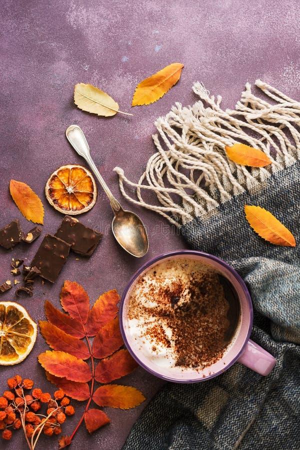 热巧克力用蛋白软糖,叶子,花揪,围巾,巧克力片断,橙色在土气背景 顶视图,拷贝空间 A 库存图片