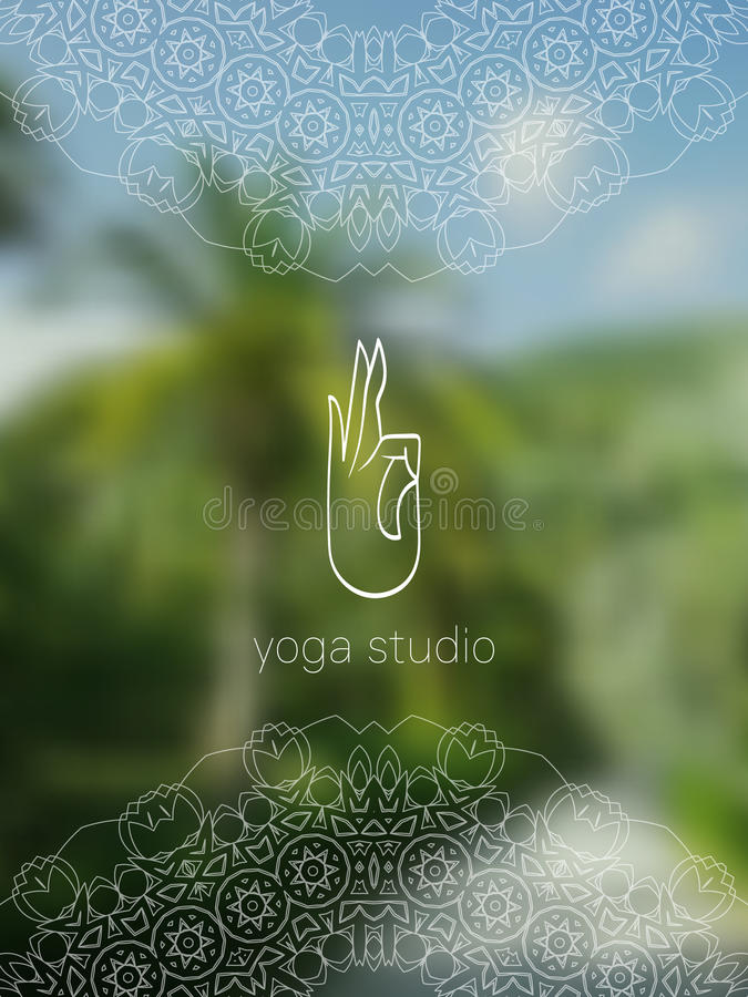 热带与坛场的瑜伽演播室现实横幅 向量例证