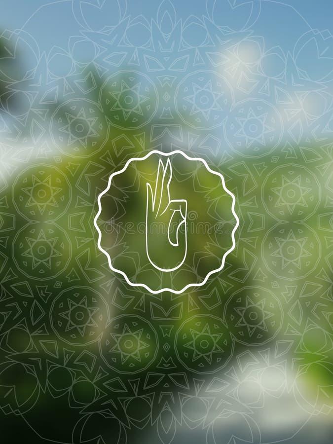 热带与坛场的瑜伽现实横幅 库存例证