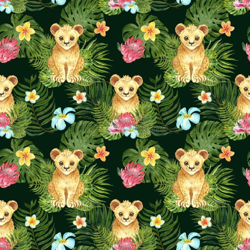 热带与逗人喜爱的动画片小的幼狮、绿色棕榈叶和异乎寻常的花的托儿所无缝的样式在深绿背景 图库摄影