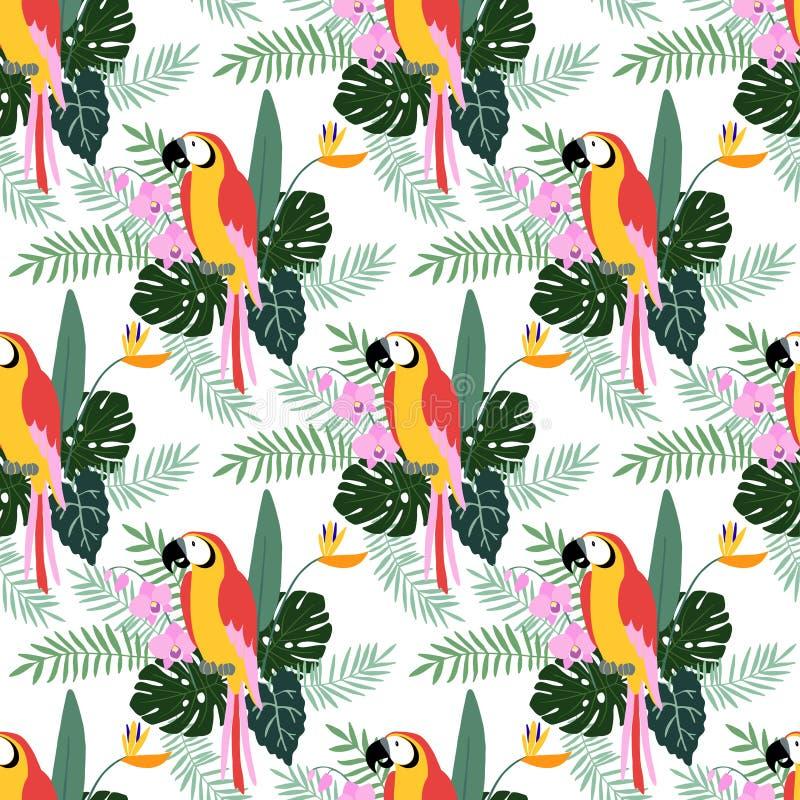 热带与鹦鹉鸟、兰花和鹤望兰的密林无缝的样式开花,棕榈,并且monstera离开,平的设计 库存例证