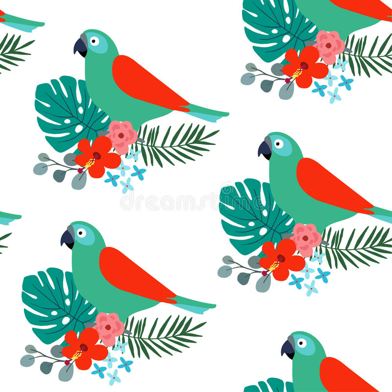 热带与鹦鹉鸟、棕榈叶和木槿的密林无缝的样式开花 平的设计,传染媒介例证 库存例证