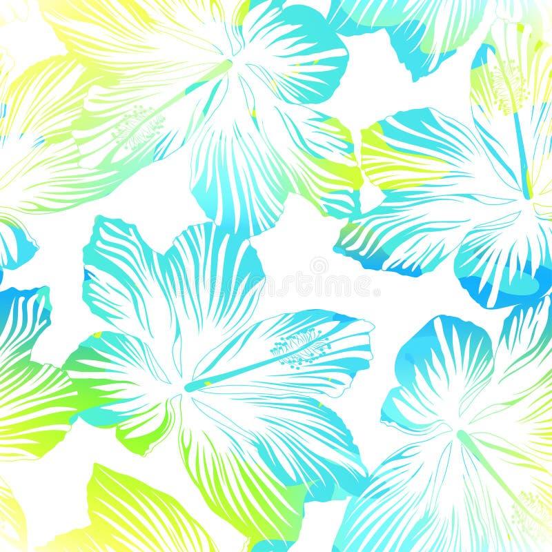 热带与水彩作用的花白色无缝的样式 皇族释放例证