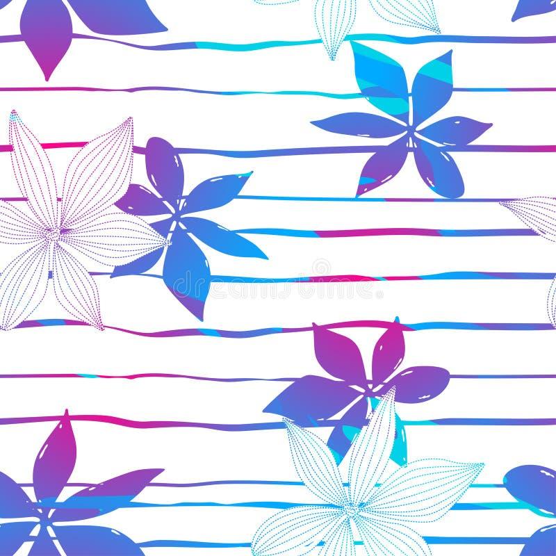 热带五颜六色的木槿在条纹无缝的样式开花 皇族释放例证