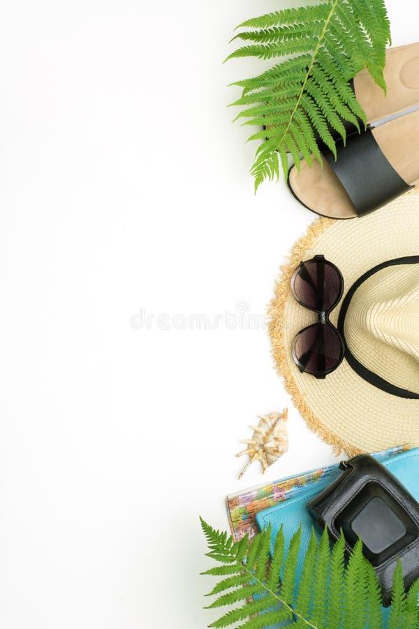 热带假期样式 秸杆海滩sunhat,太阳镜,海滩掴,蕨叶子在白色的 与拷贝空间的顶视图 夏天 免版税库存图片