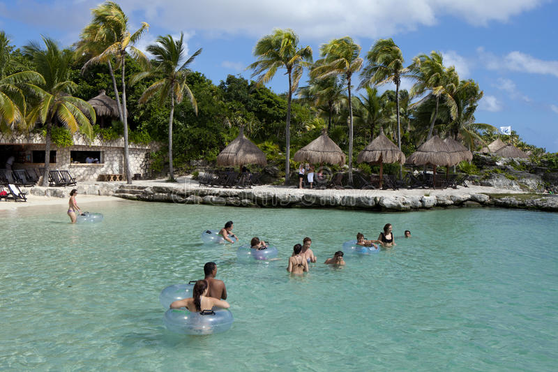 热带假期海滨del卡门,墨西哥 免版税图库摄影