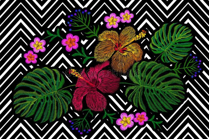 热带刺绣花的布置 异乎寻常的植物开花夏天密林 时尚印刷品纺织品补丁 夏威夷木槿羽毛 皇族释放例证