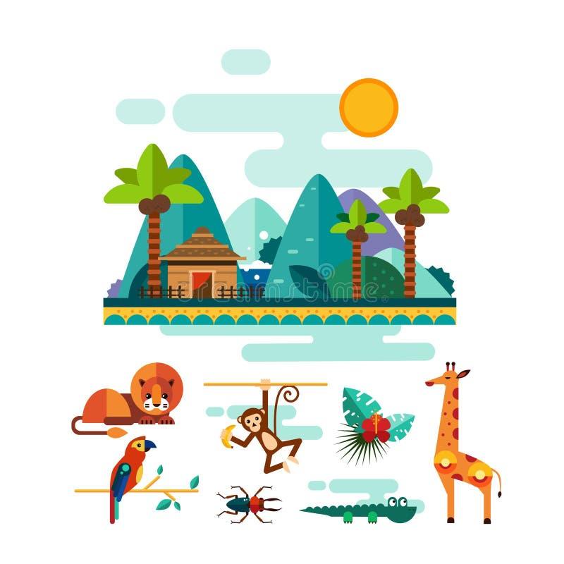 热带动物、昆虫和鸟在密林 库存例证