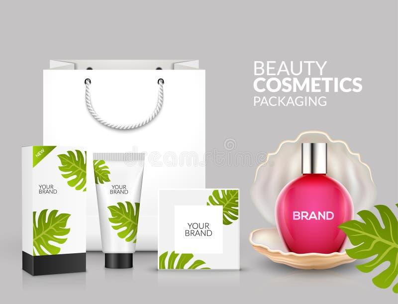 热带化妆成套设计自然夏天秀丽广告模板 化妆包装的产品促进 库存例证