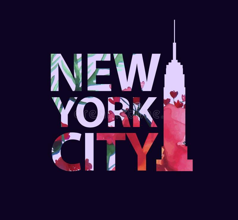 热带印刷品口号 为T恤杉或其他使用,传染媒介 城市纽约 皇族释放例证